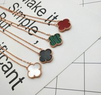 Wholesale planting red clover - VAN1 S925 sterling silver clover pendant necklace for women 1.5cm quatrefoil middle drill with multicolor shell agate clover flower necklace