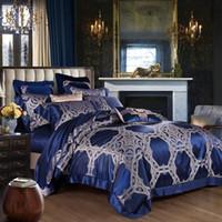 blaue seide tröster sätze großhandel-1500TC König Größe Luxus Maulbeer Seide Bettdecke Bettwäsche Set blau Palast Bettbezug Set paar Bettlaken Hochzeit Wohnkultur