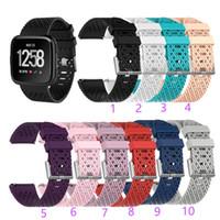 силиконовые спортивные наручные часы браслет оптовых-Для Fitbit Versa Lite Спортивный Сетчатый Ремешок Смарт-ремешки для часов Силиконовый Браслет ТПУ Мода Дышащий дизайн браслета Смарт-аксессуары