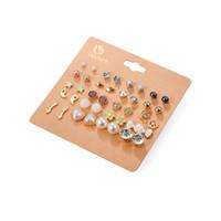 ingrosso sfere orecchini-20 paia / lotto Punk Fashion Orecchini Set per le donne Elegante misto fiore di cristallo arco metallo orecchini gioielli 5 stili
