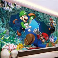 sala de mario al por mayor-Gran Mario Mural de Dibujos Animados Habitación de la Personalidad de Niños Habitación No Tejida KTV Bar Etiqueta de La Pared de Alto Grado 28mr Ww