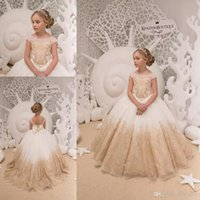 1765aab2c83 Ball Gown Flower Girl Dresses For Country Wedding Ivory and Gold Tulle Lace  Applique Birthday Wedding Party Holiday First Communion Gown
