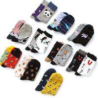 Wholesale Black Illustrations - Wholesale- Novelty Neutral illustration Socks Creative Women Men Panda Match Snow Mountain Spacemen Cartoon Sock Funny Couple Cotton Socks