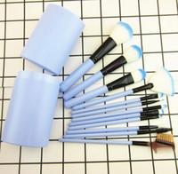 Wholesale Cylinder Makeup Brush Holder - Hot selling 12pcs eyshadow Makeup Brush Set+CylinderCup Holder Professional Cosmetic Brushes set free shipping