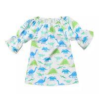 Wholesale boat coolers - Girls Dress Pagoda Sleeve Camouflage Dinosaur Cartoon Printed Skirt Summer Breathable Cool Half Sleeve 2018 New 6M-4T B11