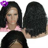 rendas frente meia perucas venda por atacado-Bob caixa sintética trançado frente perucas Glueless curto trançado Lace Wigs com Baby Hair Natural HairLine para as mulheres negras meia mão amarrada