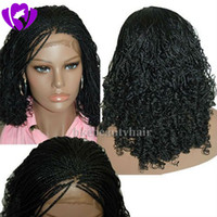Wholesale bob red ombre wigs online - Bob Synthetic Box Braided Lace Front Wigs Glueless short braided Lace Wigs with Baby Hair Natural HairLine for Black Women Half Hand Tied