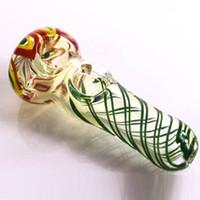 tazones de fumar envío gratis al por mayor-Tubo de mano nuevo diseño Fabricante al por mayor doble tazón rt-135 pipa de vidrio pipas de mano tubo de la cuchara envío gratis