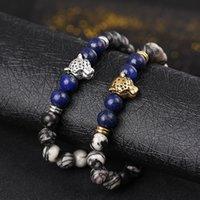 leopard achat groihandel-Europäische und amerikanische Naturstein Achat Lapislazuli Armband Türkis Armbänder Perle Leopard Kopf Armband elastisches Armband Großhandel