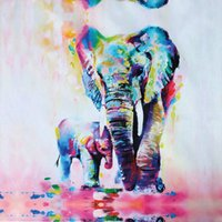 Wholesale elephant picture home decor resale online - Colorful Elephant Mother And Child Painting Pictures Abstract Wall Art Prints on Canvas for Living Room Home Decor Unframed
