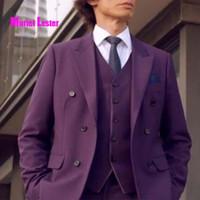 e87e1b85ba4 Muriel Lester Latest Coat Pant Designs Purple Men Suit Groom Wedding mens  Suits Slim Fit 3 Pieces Tuxedo Custom Blazer Terno