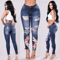 ingrosso i jeans floreali ansimano l'annata-2XL 3XL Vintage Hole Jeans donna Pantaloni distrutti Pantaloni in denim sbiancati Stampati floreali Jeans Ragazze KWA0257-4