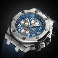 relógios mens venda por atacado-Brand New Sport Men Quartz Relógio Função Cronógrafo Azul Mens Relógio relogio masculino 2017 Y1892107
