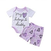 ingrosso ragazzi della ragazza del bodysuit-2PCS Pudcoco Toddler Kid Baby Girl Cotone Lettera Stampa Tuta Shorts Outfit Vestiti Baby Girl Clothes