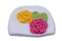camisolas bonitos do menino venda por atacado-2018 Novo recém-nascido camisola chapéu do bebê meninos meninas europeus e americanos crianças quentes flores artesanais chapéu de malha