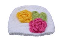 милый свитер мальчика оптовых-2018 новый милый новорожденный свитер шляпа мальчиков девочек европейских и американских детей теплые цветы ручной вязать шляпу