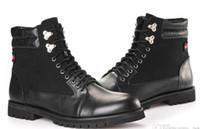 las mejores marcas de botas de vaquero al por mayor-Marca Men high top work tooling safety shoe Imprimir lienzo moda invierno al aire libre occidental vaquero ejército militar Martin Boots TAMAÑO: 40-47