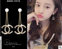Wholesale ear stud long for sale - Group buy Earrings female temperament web celebrity ear studs Korean personality hipster simple ear pendant tassela long earrings accessories
