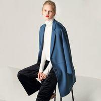 kadın s trençkot pembe toptan satış-mavi deve beyaz pembe dış giyim moda Kadın Karamel Yaka Çift Breasted X-Uzunluk İnce Hendek Kaşmir Yün Coat