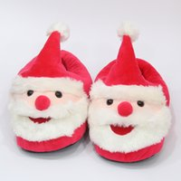 Wholesale cotton children slipper for sale - Baby Santa Claus Plush Slippers cartoon Full heel Soft Warm Household Winter flip flop for children Christmas Shoes cm C5337