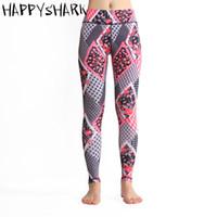 blocos de yoga vermelho venda por atacado-HAPPYSHARK 2018 Mulheres Impresso bloco vermelho de Cintura Alta Calças de Yoga correndo Fino de Fitness Mulheres yoga calças de secagem Rápida Leggings