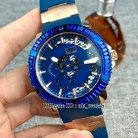 ingrosso orologio perpetuo della data-NUOVO 333-92B3-3C Marine Perpetuo Mens Automatic Watch 45 millimetri quadrante blu cassa in oro rosa Strap Blu gomma di alta qualità Gents Orologi sportivi