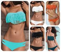 Wholesale Yellow Fringe Bikini - Hot Sale Swimwear Women Padded Boho Fringe Bandeau Bikini Set New Swimsuit Lady Bathing suit