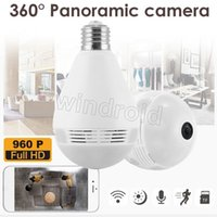 Wholesale Bulb Light Wireless IP Camera Wi fi FishEye P degree Mini P2P CCTV VR Camera MP Home Security V380 WiFi Panoramic Baby Monitor