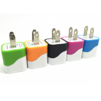usb pin plug chargeur achat en gros de-Onde colorée on usb chargeur de maison 2 broches de charge 5V 1A pas cher prix de charge plug USA adaptateur