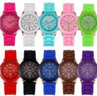 Wholesale geneva rubber watch fashion for sale - Classic popular unisex mens women fashion soft rubber silicone geneva watches students sport candy quartz wrist watches