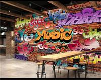Wholesale Modern Graffiti Art - Custom Wall Mural 3D Embossed Brick Wallpaper Graffiti Art Cafe Bar Dining Room Wallpaper For Walls 3 D Papel Pintado Pared