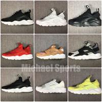 siyah beyaz gri huarache toptan satış-Kutu ile Yeni huarache 2018 koşu ayakkabıları Spor Ayakkabı erkekler kadınlar için siyah beyaz kırmızı gri Örgü ışık eğitmenler