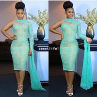 ingrosso abito da sera del vestito di lunghezza del tè-Nigeria Style 2019 una spalla abiti da sera collo alto in pizzo tè lunghezza sirena abiti da ballo formale Aso Ebi Style Party Gown