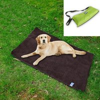 Wholesale brown black bedding online - 100 cm Pet Cats Dogs Outdoor Blanket Bed Picnic Mats Waterproof Warm Multifunctional Folding Portable Pet Blankets Pads Towel AAA517