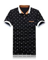 мужские рубашки поло оптовых-Новый бренд POLO Shirt Men Cotton Fashion Skull Dots Print Camisa Polo Summer Короткие рукава вскользь рубашки M-2XL