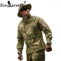 combinaison de combat tactique achat en gros de-SINAIRSOFT Tactique Cargo Costume Grenouille Uniforme Étanche Camouflage BDU Combat Uniforme US Chasse Airsoft Vêtements Chemise + Pantalon Ensemble Vêtements