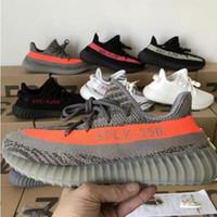 zebra şerit ayakkabıları toptan satış-Adidas yeezy supreme 350 Kanye West 350 V2 Statik Koşu Ayakkabıları Zebra Beluga 2.0 Tereyağı Susam Bred Siyah Bakır Turuncu Çizgili Atletizm Sneakers ABD