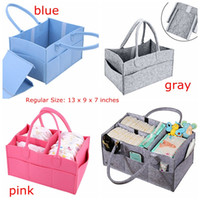 Wholesale Cars Caddy - INs Baby Diaper Caddy Gray Nursery Diaper Tote Bag Multifunction storage bag large portable car travel Organizer Gray Blue Felt Basket bag