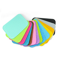 Wholesale organic cup resale online - 100pcs Silicone Dish Drying Mat Durable Rectangle Heat Resistant Square Cup Pot Bowl Plate Table Mats ZA5099