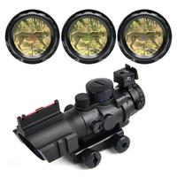 Wholesale 4x32 rifle scope - Hunting Scopes 4X32 Tactical Optical Riflescope Red&Green&Blue W  Tri-Illuminated Reticle Fiber Rifle Scope Sniper Airsoft Gun