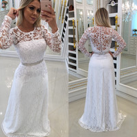 Wholesale hot pink modest prom dress - 2018 New Hot Pure White Long Sleeves Mother Dresses Modest Lace Illusion Appliques Pearls Crew Neck With Sash Long Evening Prom Gowns