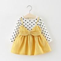 ingrosso vestito carino coreano nuovo-Baby Dress New Limited Baby Girl Dress Vestido Infantil 2018 Autunno ragazze coreane Cotton Cute per bambini a maniche lunghe principessa