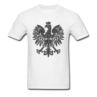 Wholesale pure white tee online - Men s T Shirts Polish Eagle Tshirt Black Halftone T Shirt Hip Hop Tops Tees Pure Cotton O Neck Summer Clothes White