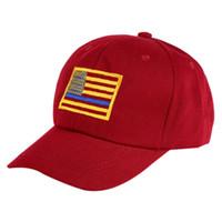 69b9b1358010d Wholesale police women hats online - American Flag Embroidered Cap Men  Women Thin Blue Line Flag