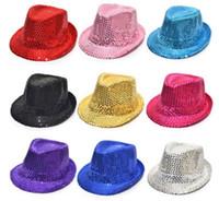 Wholesale black purple fedora hats - Sequins Jazz Hat New Sequins Adult Children Fedora Hat Stingy Brim Caps Fashion Accessories Fedoras Magic Show Hat 9colors