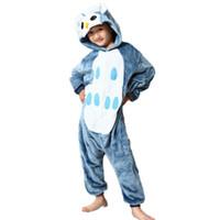 ingrosso pigiami animali onesie per i bambini-Pigiama per bambini Owl Flange Animal Onesie Bambini Pigiami di Natale Carino Inverno Con cappuccio Per bambini Sleepwear Onesies Per bambini