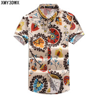 Wholesale flax s - New 2018 Summer Men 'S Slim Casual Linen Printing Flower Short -Sleeve Shirts  Male Flax Fabric Thin Casual Pattern Shirts