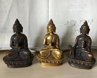 ingrosso buddha d'ottone tibetano-Folk Tibet Tibetan Brass Buddism Shakyamuni Medicine Buddha Statue Figurine per favore, scegli