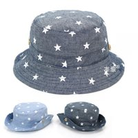 bebek yaz kovası şapkaları toptan satış-Yumuşak Pamuk Yaz Bebek Güneş Şapka Bebek Erkek Kız Kova Şapka Denim Pamuk Yürüyor Çocuk Traktör Kap