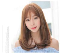 Wholesale korean wigs women - Wig women long curly hair air Qi Liu Qing pure beauty straight hair Japanese Korean popular wig